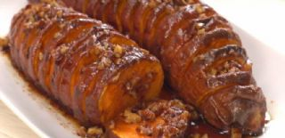 Hasselback Maple Pecan Sweet Potatoes image